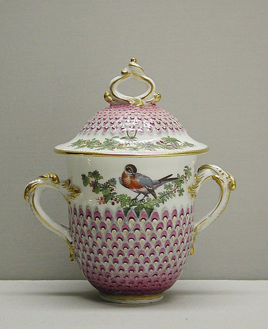 Two-Handled Cup with Cover, Chelsea Porcelain Factory, English ca. 1760