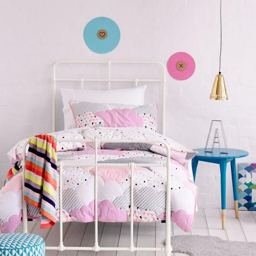 One of our best selling designs for kids, the gorgeous Cloud quilted bed linen will create a magical, dreamy bedroom for your little one! Its quilted design provides a little extra warmth in the colder months and a reverse print of colourful polka dots adds to the stunning look.