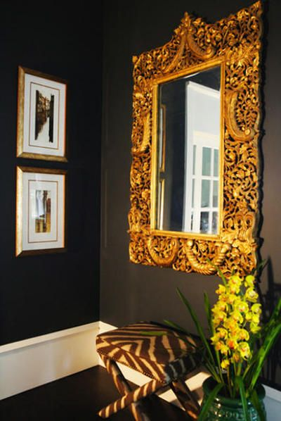 : House Design, Architecture Interiors, Wall Mirrors, Design Hotel, Design Home, Frames Mirrors, Dark Wall, Black Wall, Design Offices