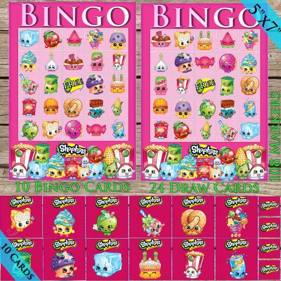 Shopkins Printable Bingo Game! Digital Download! Shopkin Party Game!