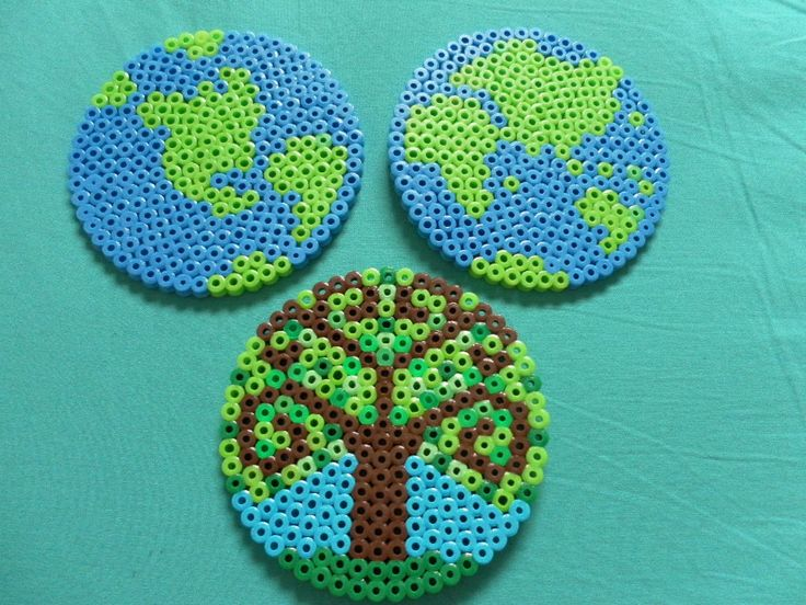 Earth Day going green globes hemispheres tree perler bead coasters set of three. $12.00, via Etsy.