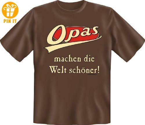 Opas machen die Welt schöner - mit Herz Danke sagen Opa Geschenk T-Shirt - in schoco-braun : ) M,Braun - T-Shirts mit Spruch   Lustige und coole T-Shirts   Funny T-Shirts (*Partner-Link)