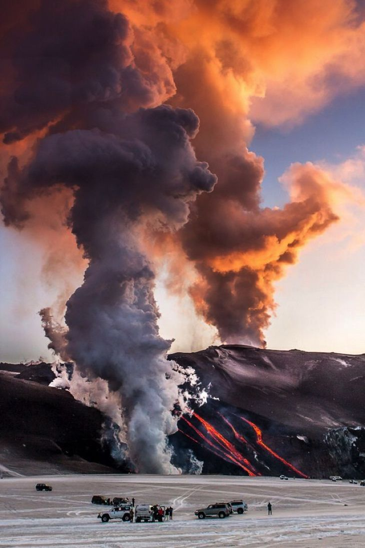 Iceland....A small island full of natural wonders such as large glaciers, active volcanoes, geysers, striking landscapes, ice caves, hot springs, canyons and waterfalls.