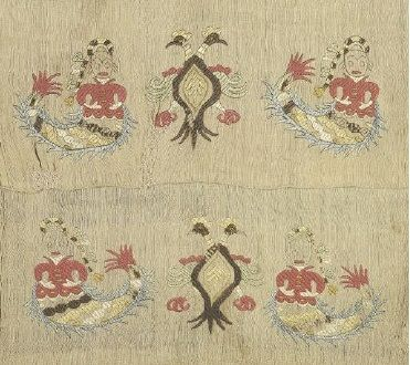 Ottoman Era Embroideries from Greece in the Benaki Museum, Athens - Embroidery with Gorgons and double-headed eagles which, as allusions to legends about sea voyages, acquire a special protective-apotropaic meaning. From Skyros, Sporades, 18th-19th c. L. 0.74, W. 0.36 m. Gift of Panayiotis Lidorikis. (ΓΕ 6408)