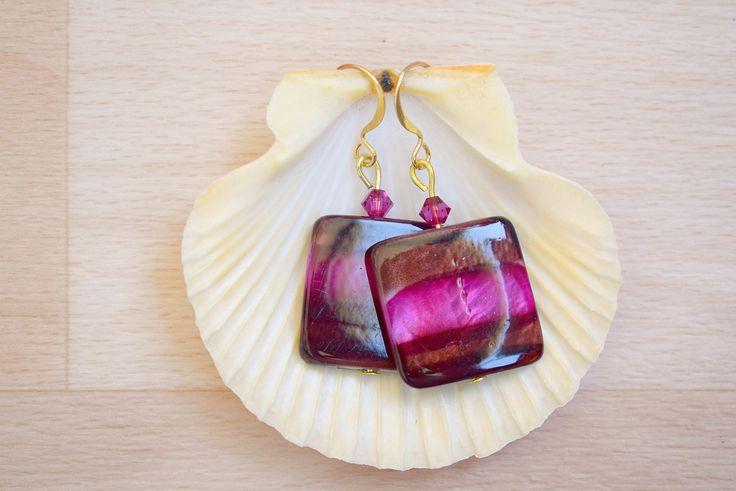 Square Seashell Earrings - Ombre Earrings - Sea Shell Jewelry - Dark Brown-Purple Earrings - Natural Jewelry - Dangle Earrings by SkadiJewelry on Etsy