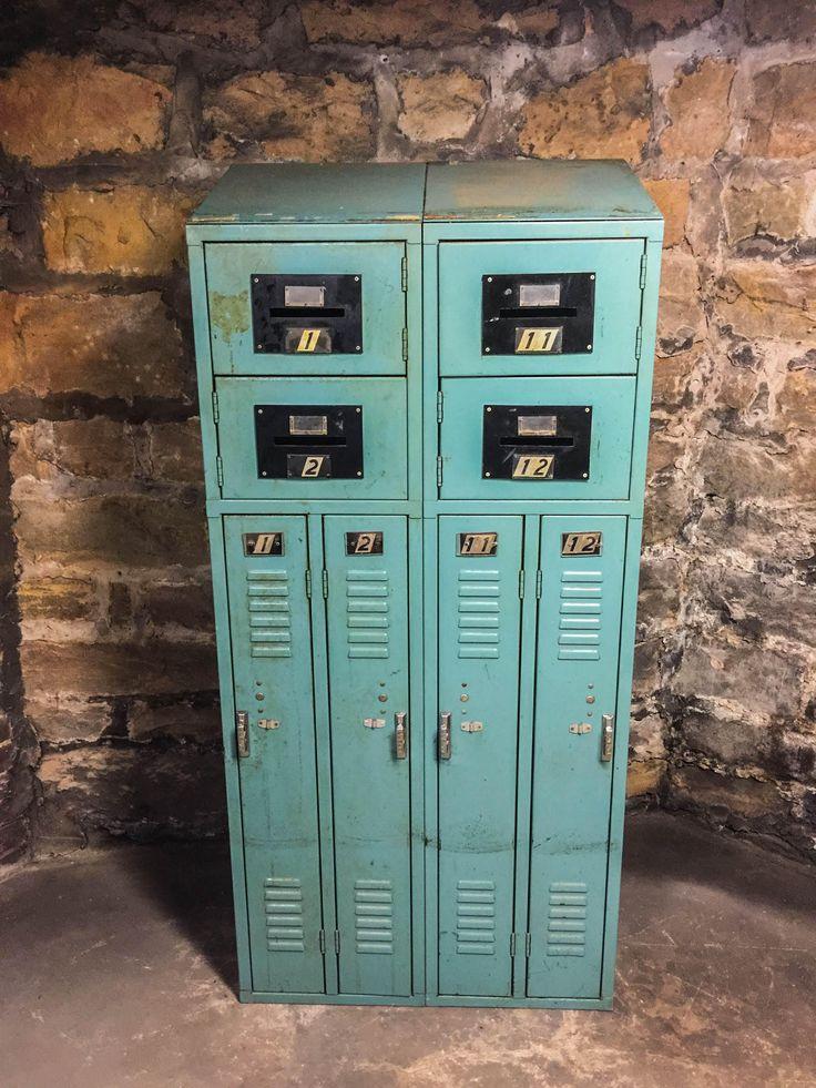 Vintage Penco Metal Lockers Blue Gray 8 Storage Compartments Slant Angle Top Industrial Decor by BelletreeVintage on Etsy