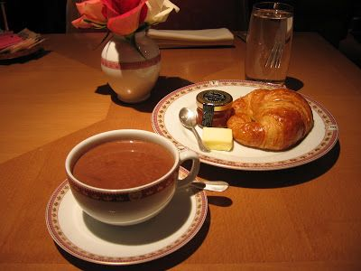 A French breakfast is generally on the small side: a hot drink (tea, coffee, hot chocolate) and a croissant or piece of bread accompanied with butter or jam. Description from frenchfunatcalvert.blogspot.com. I searched for this on bing.com/images