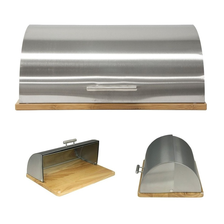 Stainless Steel and Bamboo Bread box