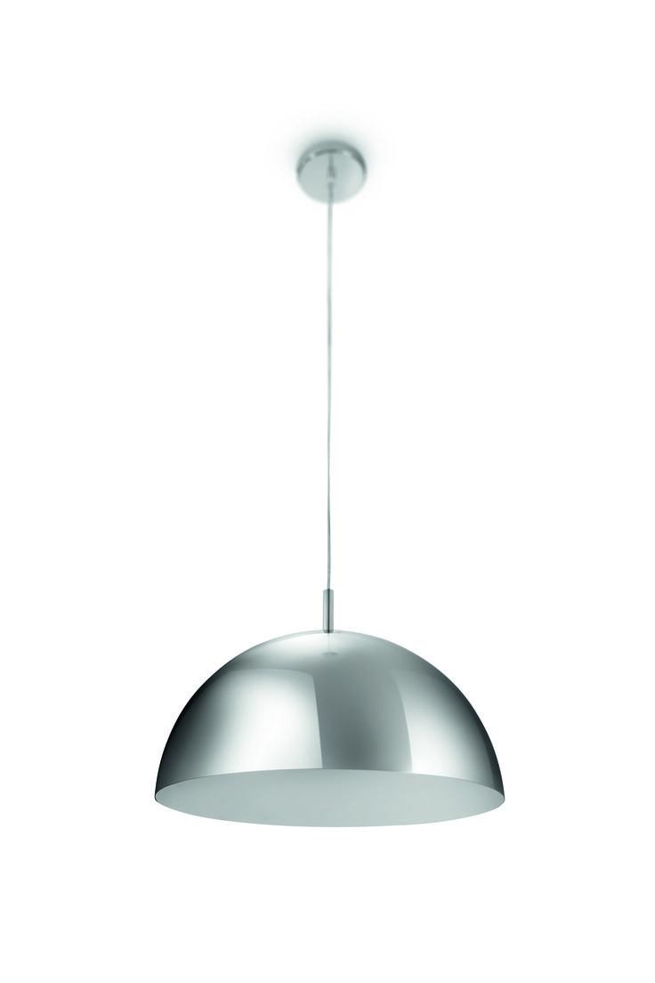 RIMU - półkulista lampa wisząca w kolorze chromu. Wysokiej jakości wykończenie z metalu podkreśla ciepłe, białe światło rzucane przez ekologiczną żarówkę, zapewniając jednolite, jasne oświetlenie i komfort.Maksymalna wysokość - 150  cm, długość - 40  cm, szerokość, - 40  cm #Philips #Lighting #PhilipsShowroom #oświetlenie #salonu #sypialni
