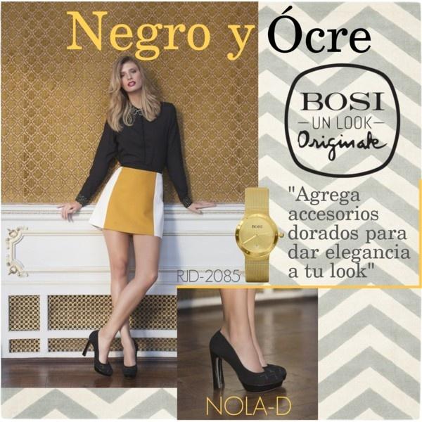 """""""Negro y ocre - Un look originale"""" by bosi-accesorios on Polyvore"""