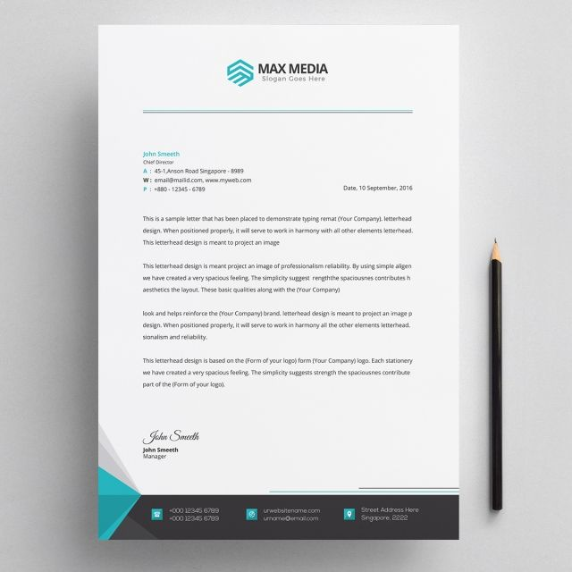 Letterhead Psd Template Company Paper Design Lettering