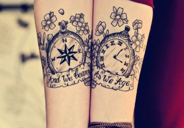 Compass and Watch Matching Tattoos - 70 Lovely Matching Tattoos | Art and Design