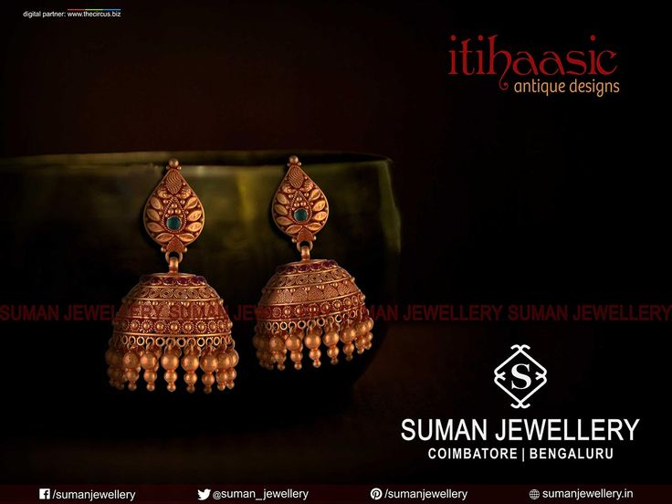 The Only Dazzling Spot of the World class Jewellery!! Dazzling antique Jhumkas from Suman jewellery. ‪#‎setoftheday‬ ‪#‎fashion‬ ‪#‎antique‬ ‪‪#‎eardrops‬