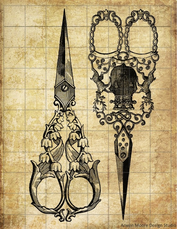 """Tattoo inspiration... ~ """"Victorian"""" Scissors ~ okay, not the scissors, but this sort of style for other weapons or something"""