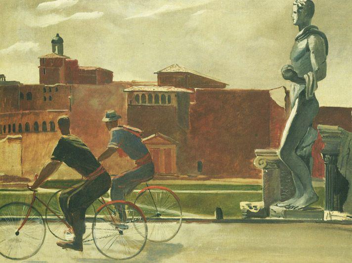 Художник Александр Дейнека. Живопись. Итальянские рабочие на велосипедах. 1935