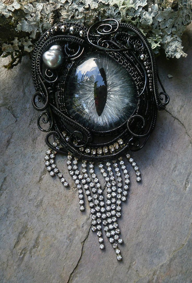 Gothic Steampunk Black Evil Eye Pin Pendant in Black and Silver.