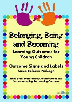 Great signage to put up around our EYLF childcare centre for the Belonging, Being and Becoming Framework showing parents the outcomes at different activities.