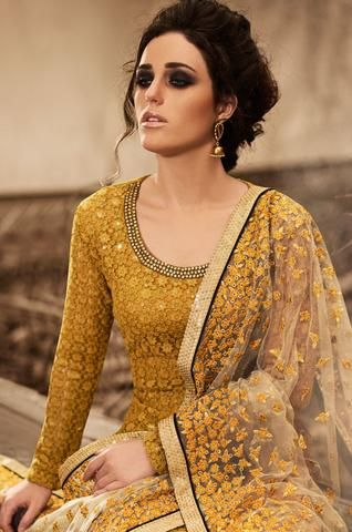 Mustard Netted Patiyala Kameez Suit Online ,Indian Dresses - 2
