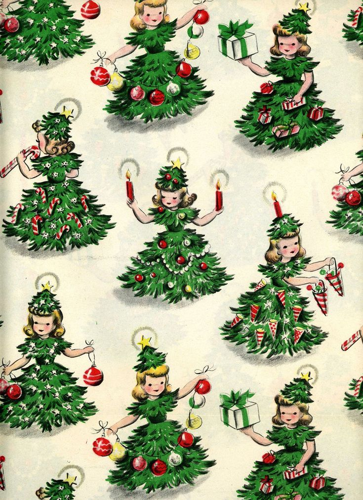 vintage wrapping paper - tree girls