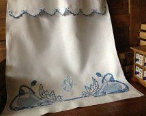 French White Linen Blue Floral Appliqué & Blue Embroidered Vintage Café Curtain Panel ~ Monogrammed