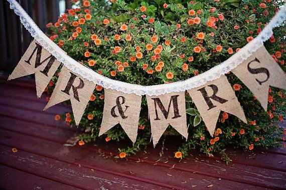 Burlap Wedding Banner - Burlap and Lace - Mr & Mrs Banner - Wedding Banners - Rustic - Shabby Chic on Etsy, $23.50