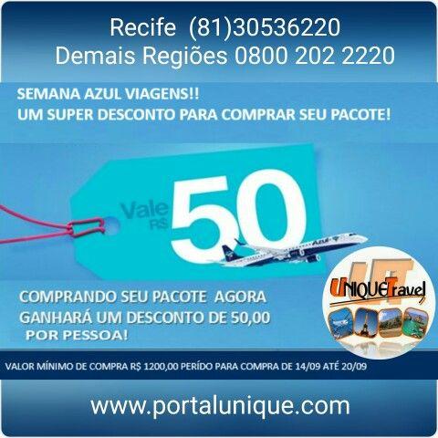 Semana Azul de descontos para seu pacote. #portalunique #travel #unique #my #traveling #travelagent #passagensbaratas #aereobarato #promoção #mytrip #orlandoflorida #florida #promoçãoazul