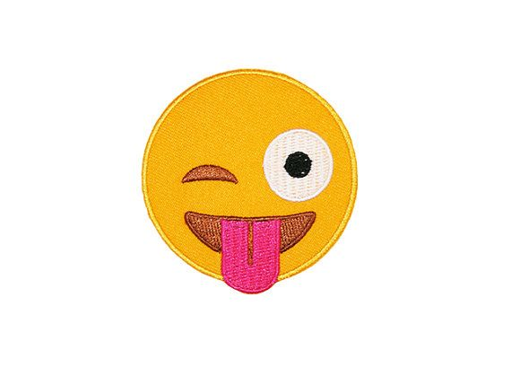 Wink tongue emoji patch, measures 6cm across.    Our iron on patches are perfect for customising your favourite apparel! These high quality