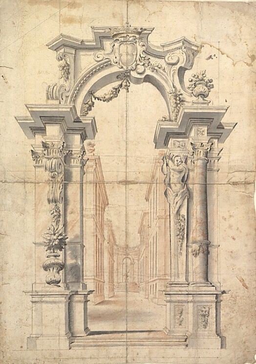 Two One Half Variants of a Design for Painted Wall Decoration with Arch and…