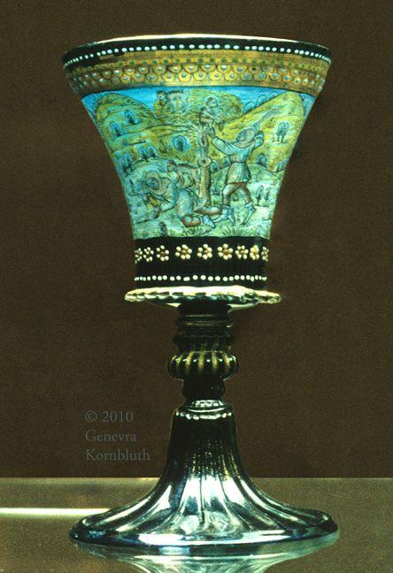 Peddler Goblet: peddler robbed by monkeys, enameled, Murano 19th c.