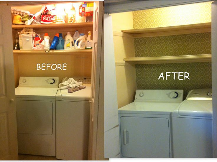 Laundry Closet Makeover Used Starched Fabric For The Wall