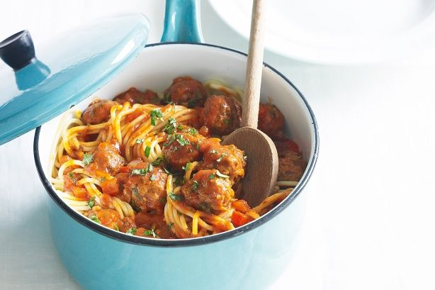 Beef and mushroom meatballs with spaghetti