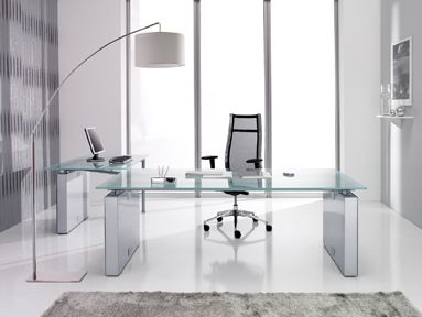 Fine Modern Home Office Glass Desk Adjustable Height Top And