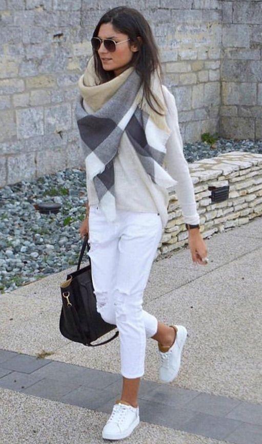 Schaltuch   – Weiße jeans outfit –   #