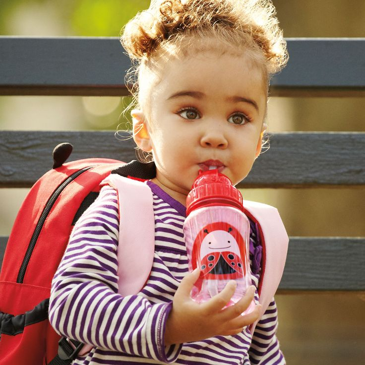 "Skip Hop Straw Bottle  A major milestone for toddler is when she is ready to move on from sippy cups. The Zoo Straw Bottle helps ease this transition by giving little ones a ""big-kid cup"" with the protection of a flip-top lid. Dishwasher-safe; also comes with an extra straw."