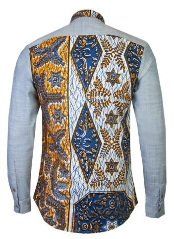 Denim Long sleeve African print shirt 'Bethlehem' - OHEMA OHENE AFRICAN INSPIRED FASHION  - 2