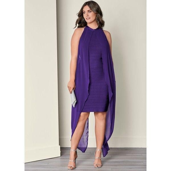 Venus Plus Size Women's Slimming Dress (445 DKK) ❤ liked on Polyvore featuring dresses, purple, plus size dresses, slimming maxi dresses, slimming cocktail dresses, plus size maxi dresses and venus dresses