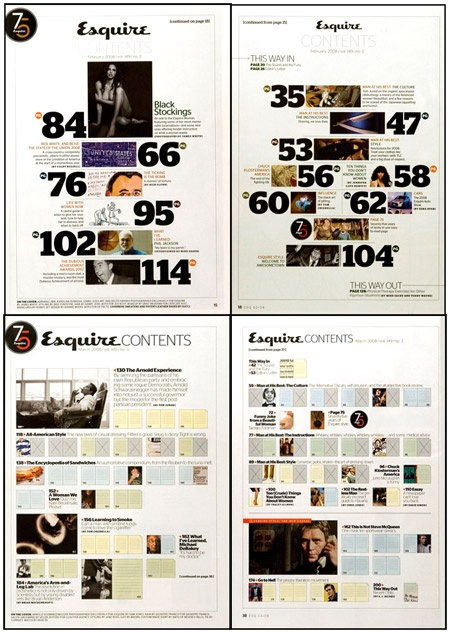 Contents Page Esquire magazine