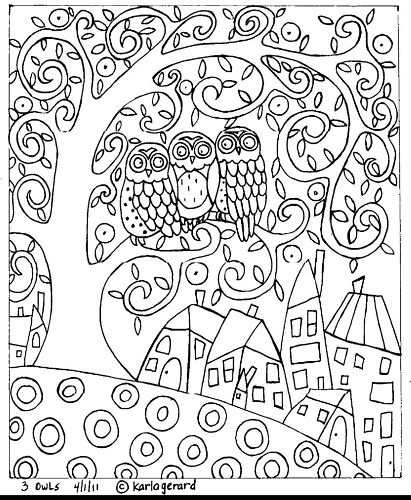 RUG HOOK PAPER PATTERN 3 Owls ABSTRACT Folk Art KARLA G | eBay