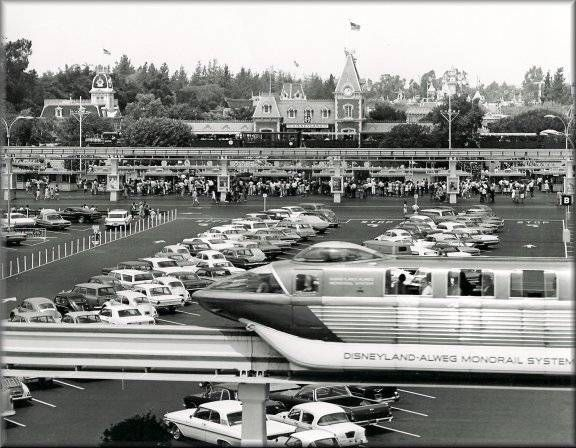 disneyland. vintage the old entrance...(when there was parking lot in front of Disneyland)