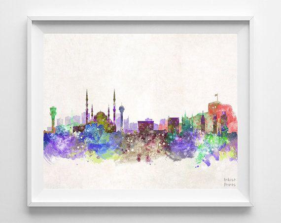 Ankara Skyline Watercolor Turkey Poster Turkish by InkistPrints, $11.95
