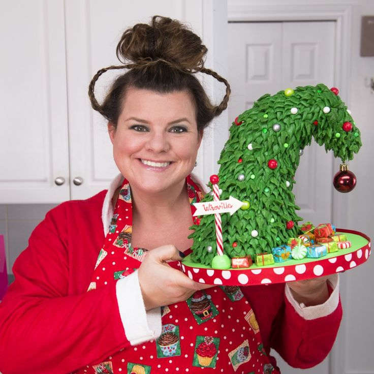 Grinch Christmas Tree cake with Jenn Johns, host, cookies cupcakes and cardio