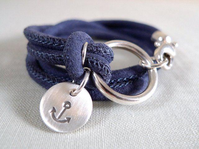(1) Fancy - Blue Suede & Sterling Silver Anchor Bracelet