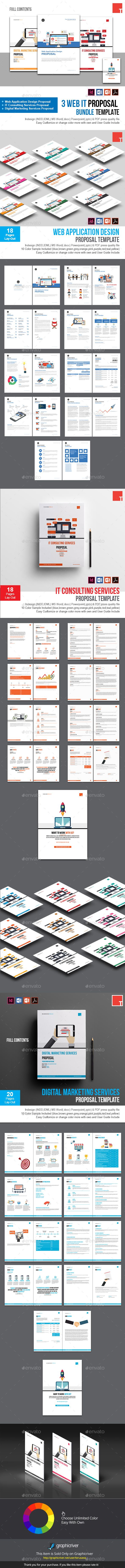 3 Web IT Proposal Bundle Template — InDesign INDD #web apps #acceptance • Available here → https://graphicriver.net/item/3-web-it-proposal-bundle-template/20652425?ref=pxcr