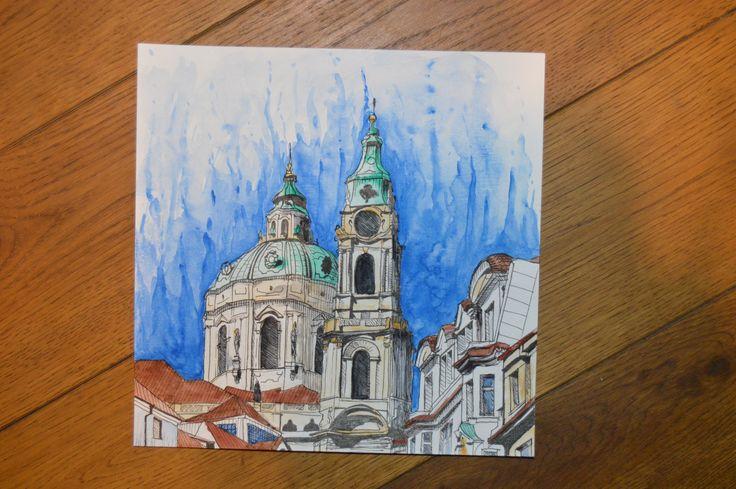 St. Nicholas Church, Prague │ ink │ aquarelle  www.facebook.com/oksprayart