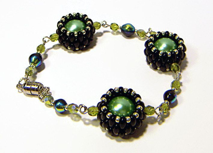 Beaded Bracelet, Bead Bracelet, Black and Mint Green Bracelet, Black Mint Jewelry, Unique Jewelry, Jewelry Set - pinned by pin4etsy.com