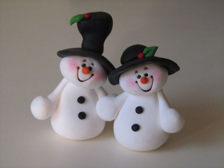 Polymer Clay Snowman | Polymer Clay Christmas Snowman Couple by ClayPeeps on…