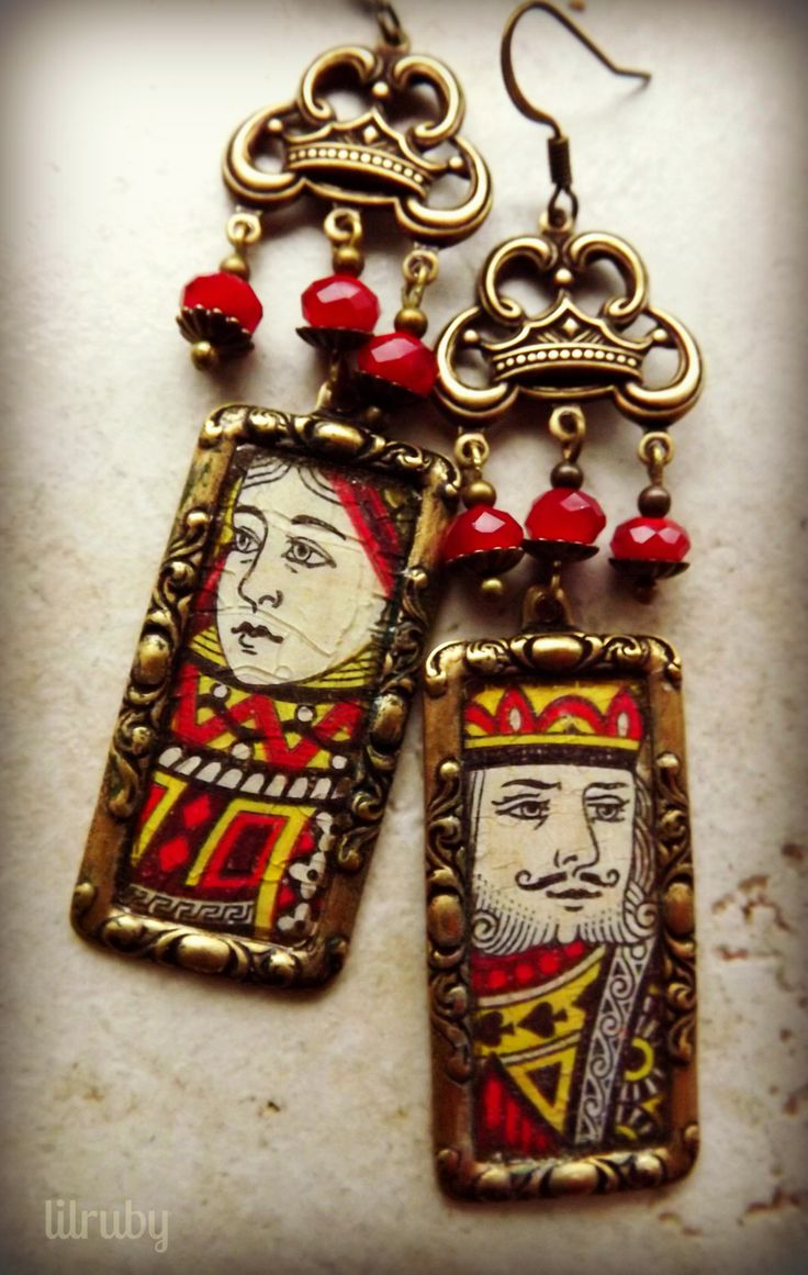 Sunday Earrings Challenge - made with vintage playing card images in B'Sue frame bezels