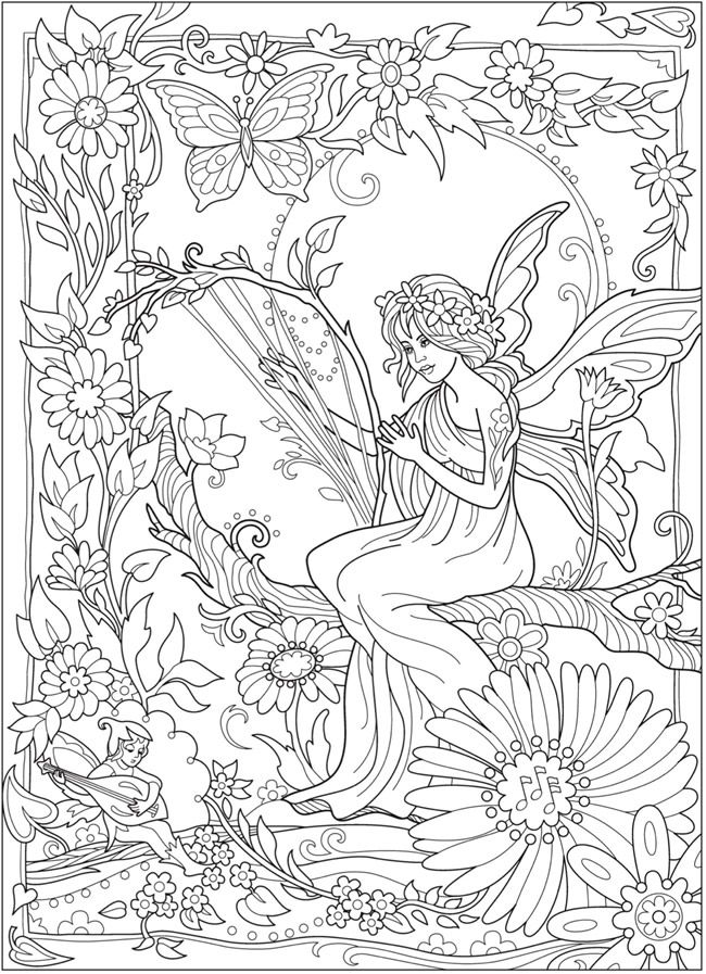 Welcome To Dover Publications Ch Magical Fairies Fairy Coloring Pages Fairy Coloring Book Coloring Pages For Grown Ups