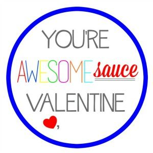Applesauce 'AwesomeSAUCE' Free Printable Tags from View From The Fridge.  Perfect 'healthy' alternative to candy this Valentine's Day!