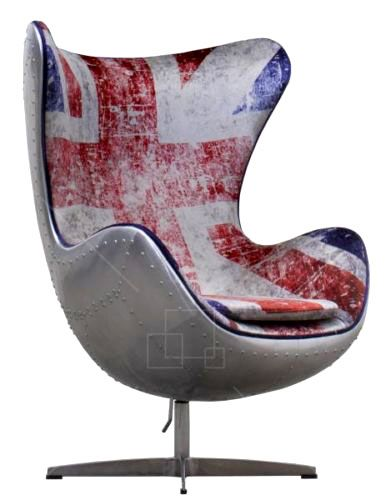 The outer shell of The Pilot Egg chair is crafted from hand cut plates of aluminium and riveted by hand to give this fantastic and unique chair its vintage aircraft look. The aluminum or copper is hand polished giving a brushed matt finish. The chair's interior walls are clad in fabric and features the Union Jack flag. The Pilot Egg Chair is mounted on a high quality ball bearing swivel mechanism allowing 360° of movement. A fantastic piece of aviation furniture. http://www.the-man-shed.com